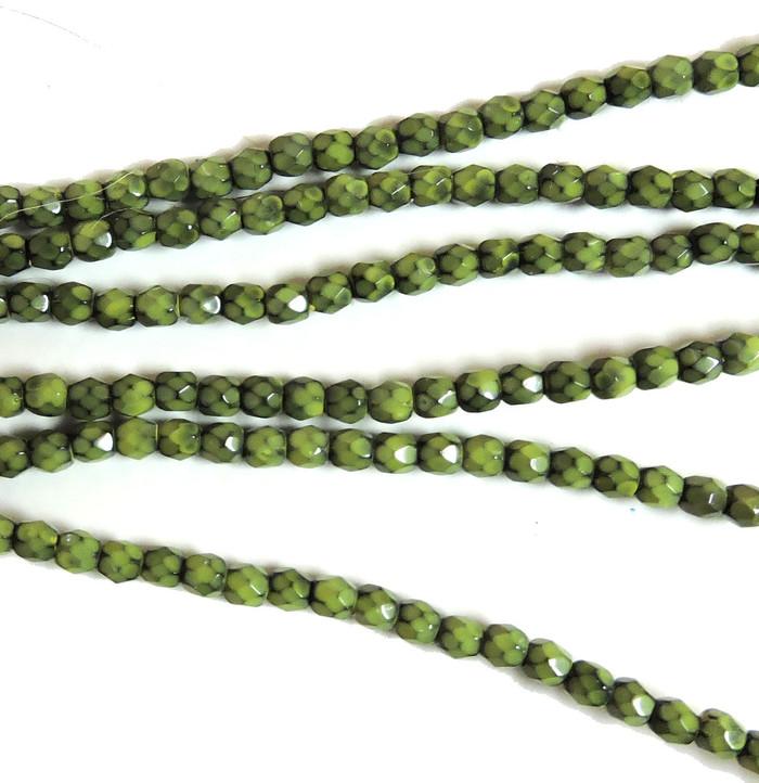 Lime 3mm Snake Skin Faceted Firepolish Czech Glass 48 beads