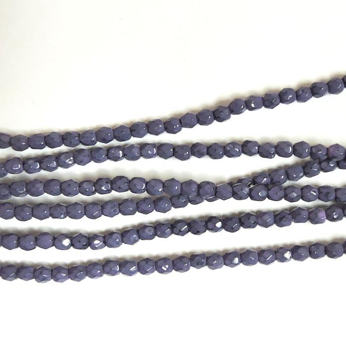 Dark Orchid 3mm Snake Skin Faceted Firepolish Czech Glass 48 beads