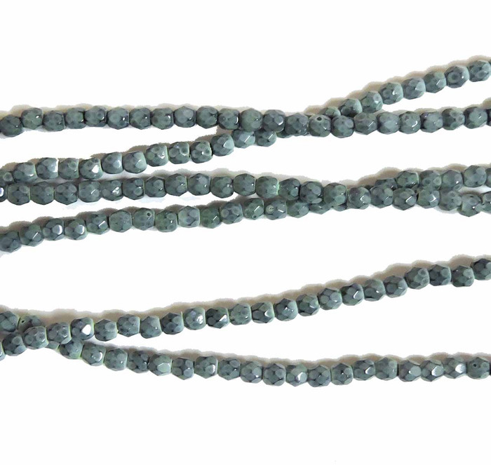 Hemlock 3mm Snake Skin Faceted Firepolish Czech Glass 48 beads