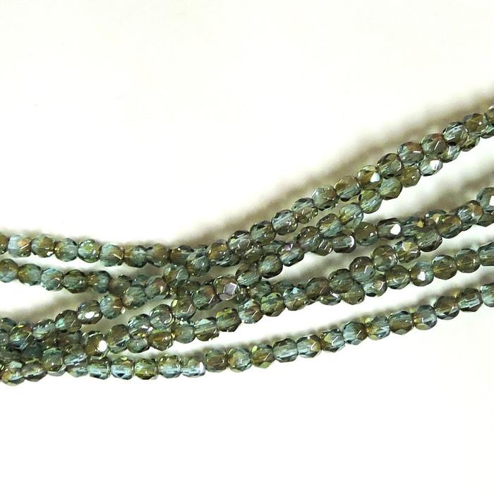 Aqua Celsian 3mm Faceted Firepolish Czech Glass 48 beads