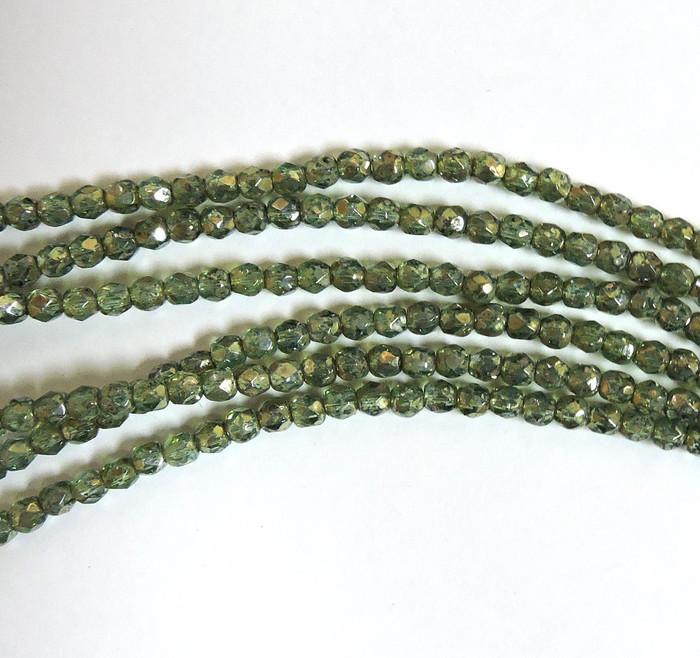 Aqua Picasso 3mm Faceted Firepolish Czech Glass 48 beads