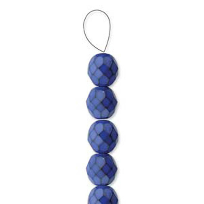 """Cobalt Snake 15 Czech 10mm Faceted Round Firepolished Glass Beads 6"""""""