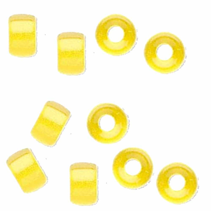 Yellow 10pc Czech Glass Macrame & Leather Crow Beads 9x4mm 3mm Hole