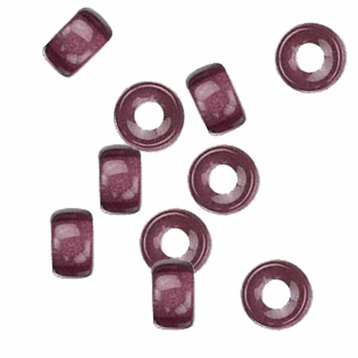 Amethyst 10pc Czech Glass Macrame & Leather Crow Beads 9x4mm 3mm Hole