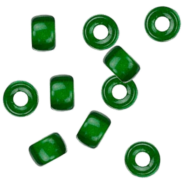 Green 10pc Czech Glass Macrame & Leather Crow Beads 9x4mm 3mm Hole