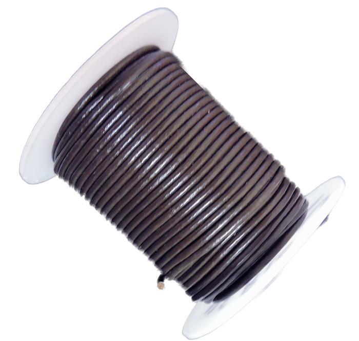 Dark Brown 2mm Buffalo Leather Round Cord 25 Yards
