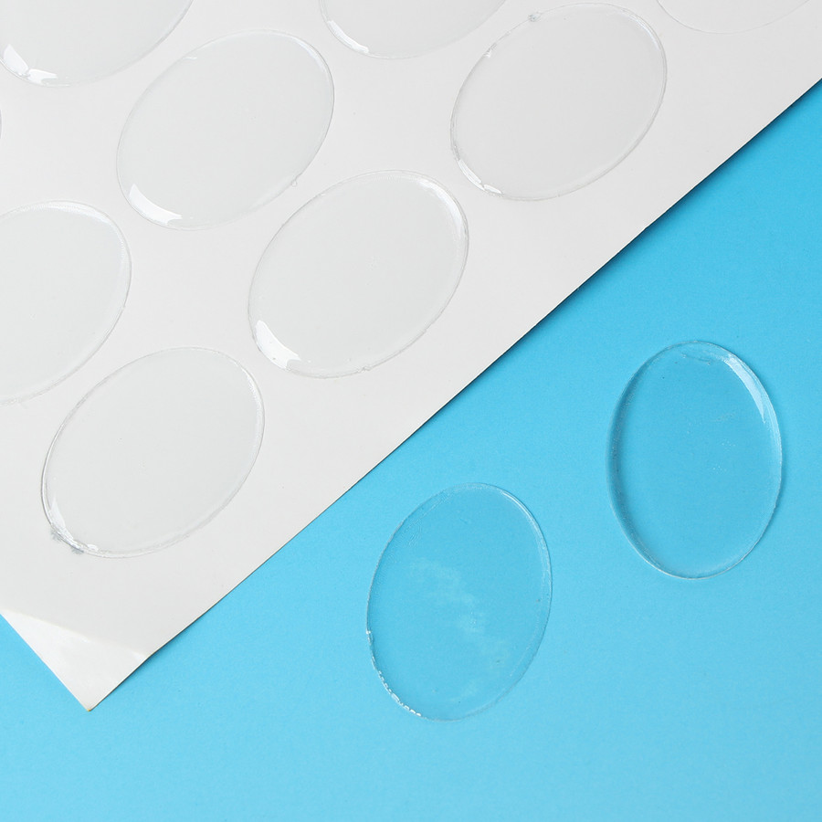 64 Clear Resin Cabochon Sticker Clear 25x18mm 1x3/4 Inch