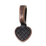 5 Glue on Bails Pendant Hanger Heart Antique Copper Plated 16x8mm