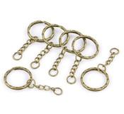 30 1 Inch Key Chains & Key Rings Antique Brass/gold 5.3cm 30pcs