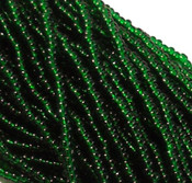 Czech 11/0 Glass Seed Beads 1 (6 String Hank) Preciosa (Green Transparent)