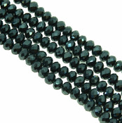 Metallic Green Faceted 8mm Rondelle Beads 70 Piece Luster Glass Crystal Beads