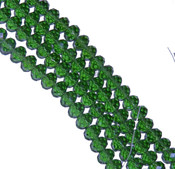 Green Faceted 6mm Rondelle Beads 90 Piece Luster Glass Crystal Beads