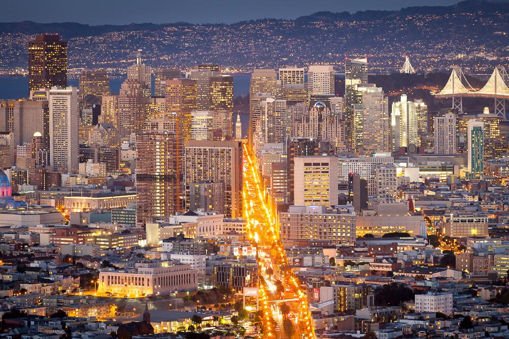 Dusk along Market Street - San Francisco