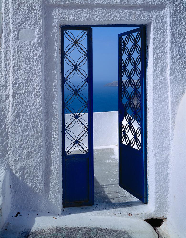 Blue Door of Santorini