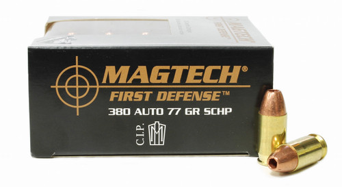 Surplus Ammo, Surplusammo.com 380 Auto 77 Grain SCHP Magtech First Defense