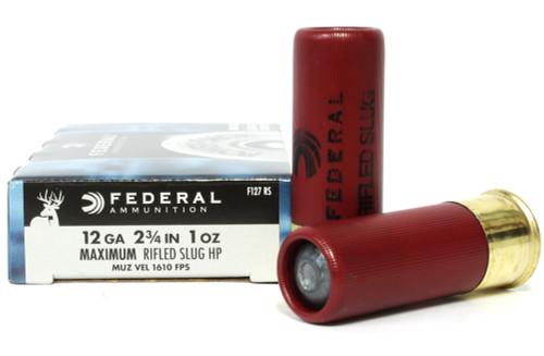 "Surplus Ammo   Surplusammo.com 12 Gauge Federal Power-Shok 2 3/4"" Maximum Rifled Slug HP 1oz F127 RS"