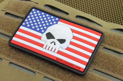 SAA USA Flag 3D Skull morale patch Glow In The Dark Skull Left Sleeve Velcro backed Surplus Ammo