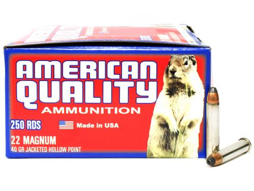 Surplusammo.com | Surplus Ammo 22 Magnum 40 Grain JHP Nickel-Plated-Brass-Casing AMERICAN QUALITY - 500 Rounds Bulk N22Mag40HPVP500