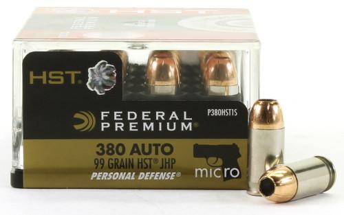 Surplus Ammo | Surplusammo.com 380 Auto 99 Grain Tactical HST JHP Federal Premium Ammunition