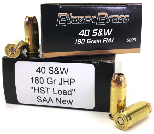 Surplus Ammo | Surplusammo.com 40 S&W 180 Grain FMJ Blazer Brass + 40 180gr. SAA HST-Load Ammunition
