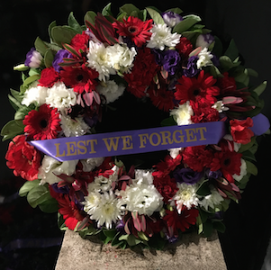 Red Purple White Anzac Wreath for Sydney Delivery