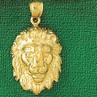 Lion Head Charm Bracelet or Pendant Necklace in Yellow, White or Rose Gold DZ-1676 by Dazzlers