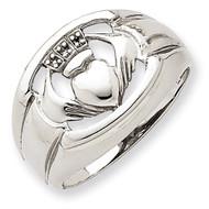 .01ct. Diamond & Onyx Men's Claddagh Ring Mounting 14k White Gold Y4143