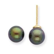 7-8mm Round Black Saltwater Akoya Cultured Pearl Stud Earrings 14k Gold XF329E