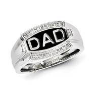 Diamond Men's DAD Ring Sterling Silver Rhodium-plated QR5106-10
