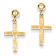 & Satin Cross Dangle Earrings 14k Gold Polished REL173