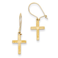 & Satin Cross Earrings 14k Gold Polished REL182