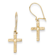 & Satin Cross Earrings 14k Gold Polished REL185