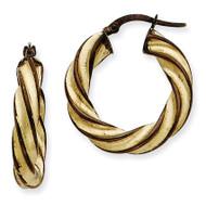 Brown Rhodium 5mm Twisted Hoop Earrings 14k Gold PRE205