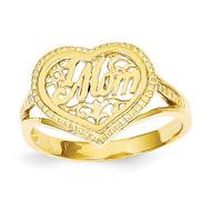 #1 Mom in Heart Ring 14k Gold D938