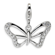 Diamond Polished Butterfly with Lobster Clasp Charm Sterling Silver QCC378