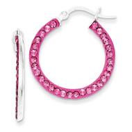 Stellux Crystal Pink Hoop Earrings Sterling Silver QE9570