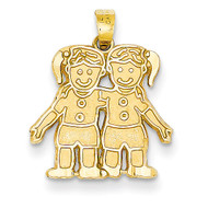 Solid Satin Two Girls Charm 14k Gold YC17