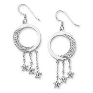 I Promise You the Moon and Stars Dangle Earrings Sterling Silver with Diamonds QSX209