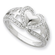Diamond Polished Pure Heart Ring Sterling Silver QSX258-8
