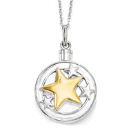 Your Brightest Star Ash Holder 18 Inch Necklace Sterling Silver Gold-plated QSX574