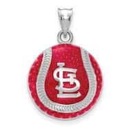 Saint Louis Cardinals Interlocking STL Baseball Enameled Pendant in Sterling Silver by LogoArt MPN: SS519CRD
