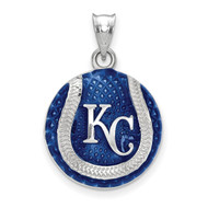 Kansas City Royals KC Staggered Baseball Enameled Pendant in Sterling Silver by LogoArt MPN: SS519ROY