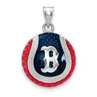Boston Red Sox B Baseball Enameled Pendant in Sterling Silver by LogoArt MPN: SS519RSO