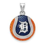 Detroit Tigers D Baseball Enameled Pendant in Sterling Silver by LogoArt MPN: SS519TIG