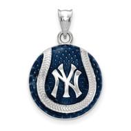 New York Yankees Interlocking NY Cap Logo Baseball Enameled Pendant in Sterling Silver by LogoArt MPN: SS519YAN