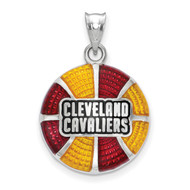 Cleveland Cavaliers Stacked Wordmark Basketball Enameled Pendant in Sterling Silver by LogoArt MPN: SS522CAV