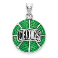 Boston Celtics Script Celtics with Shamrock Basketball Enameled Pendant in Sterling Silver by LogoArt MPN: SS522CEL