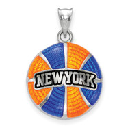 New York Knicks New York Arched Basketball Enameled Pendant in Sterling Silver by LogoArt MPN: SS522KNI
