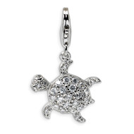 Sea Turtle Charm Sterling Silver Synthetic Diamond QCC381