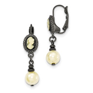 Black-plated Acrylic Cameo Simulated Pearl Leverback Earrings BF2533